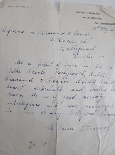 Reference from Bro Canice  De La Salle to Diarmuid O Connor 12th May 1962