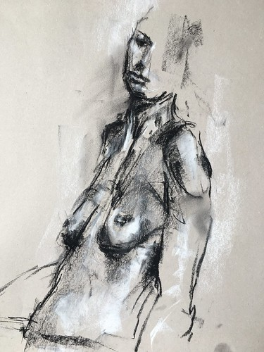 Quick sketch from last weeks drop-in session at Hullbridge life drawing. Compressed charcoal and chalk on toned paper.