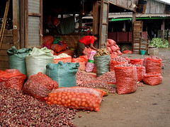 So many shallots at the Flower Market in Mandalay, Myanmar