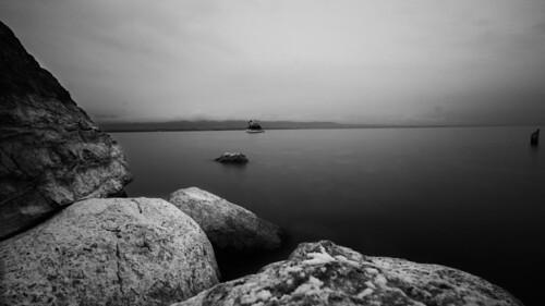 Lac Léman, en noir et blanc