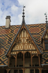 Hospices de Beaune, France. Recognized by its colorful, geometric-patterned tile roof. - Photo of Chorey-les-Beaune