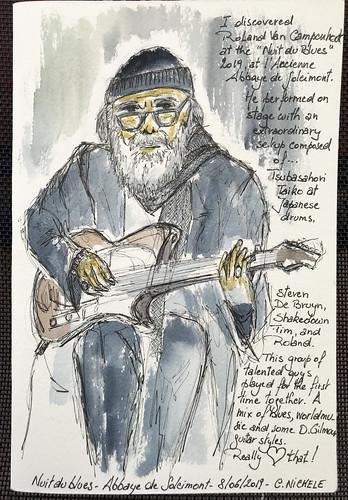 La nuit du Blues à Soleimont (aquarelle)