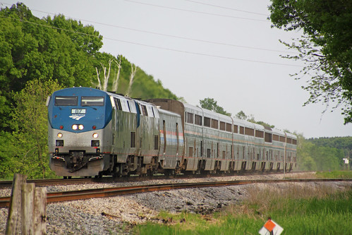 The WB Empire Builder glides toward its Portage stop, just about on time