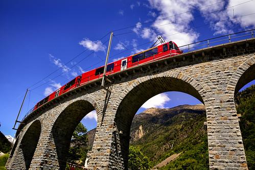 Brusio spiral viaduct & Bernina Express - Switzerland.