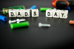 Dice reading DAD'S DAY