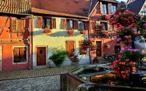 Bergheim (Haut-Rhin, Fr) – Casas de Alsacia: flores y colores