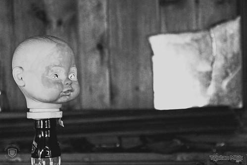 abandoned baby doll head on bottle