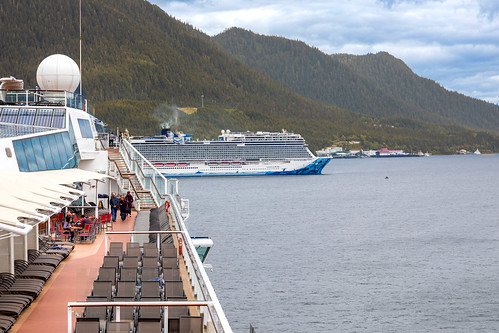 Preview of our holiday in Canada and Alaska. - One leaving!  Cruise ship leaving Ketchikan, ALaska. USA