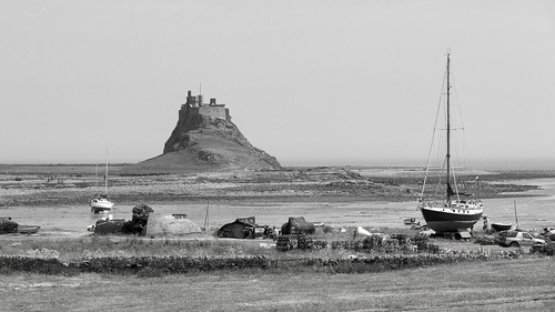 Lindisfarne Castle and harbour, Holy Island, Northumberland, UK