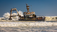 Image by NoVice87 (92110231@N03) and image name Skeleton Coast photo  about Shipwreck on the Skeleton Coast in Namibia.