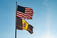Pittsburgh City Flag and American Flag