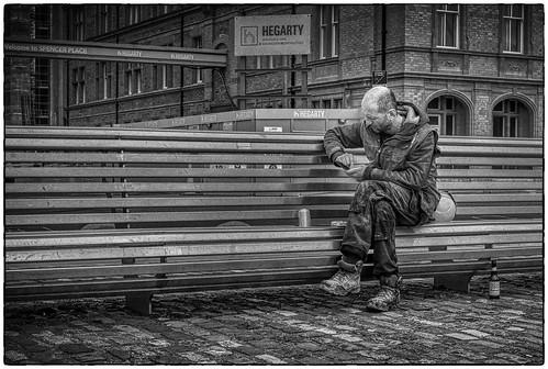 Construction worker on lunch break