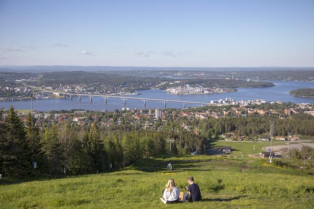Utsikt från Södra berget i Sundsvall, Juni 2019
