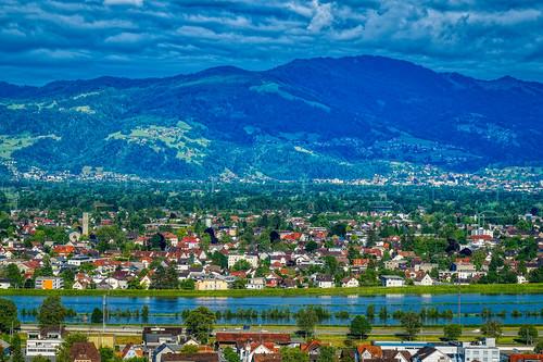 Flooded Rhine at Lustenau