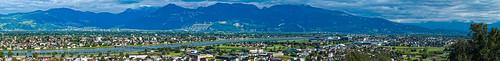 Panorama of the Rheintal taken above Au (St. Gallen)