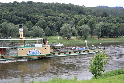 Steamship on Elbe river