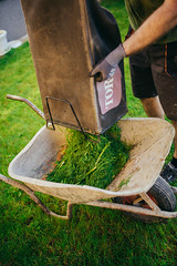 Disposing grass into a masonry trolley