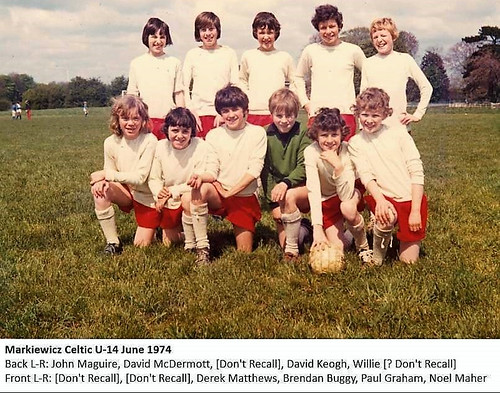 Markiewicz Celtic Under 14 June 1974. Thanks to John Maguire for the Photo