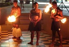 Nadi. Fijian fire dancers at the Denarau Island marina  centre.