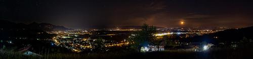 Nightly panorama of the Rheintal taken at Bildstein