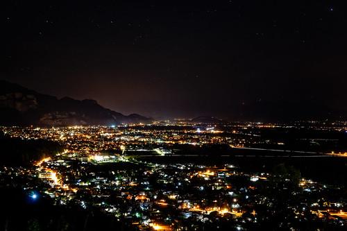 View of the Rheintal from Bildstein at night