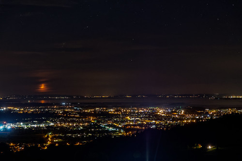 View from Bildstein towards Lake Constance at night