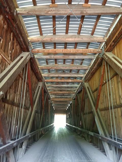 Inside Grays River Covered Bridge in Washington state