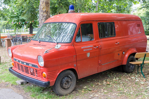 Retro Ford fire engine of the  Weyerbusch voluntary firefighters in the BaseCamp in Bonn