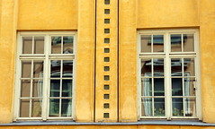 The old-fashioned window panes..