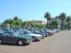 France, la Corse, voitures du rallye automobile sur la place à Bastia
