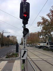 Tram signals and signage at Festival Plaza tram stop, Adelaide