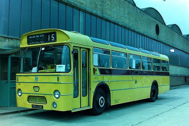 103 Bournemouth Transport CRU103C Leyland Leopard PSU3.3R Weymann @ Mallard Road garage