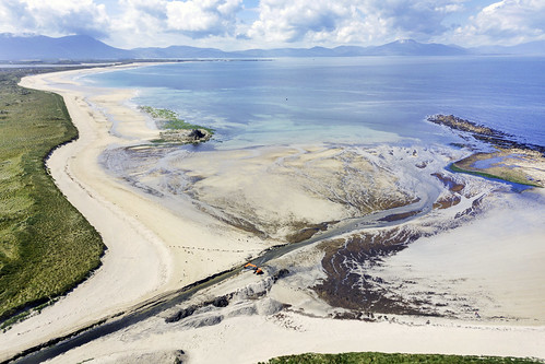 Bird's eye view, Banna Strand, Kerry. I like the orange digger seen dredging the channel.