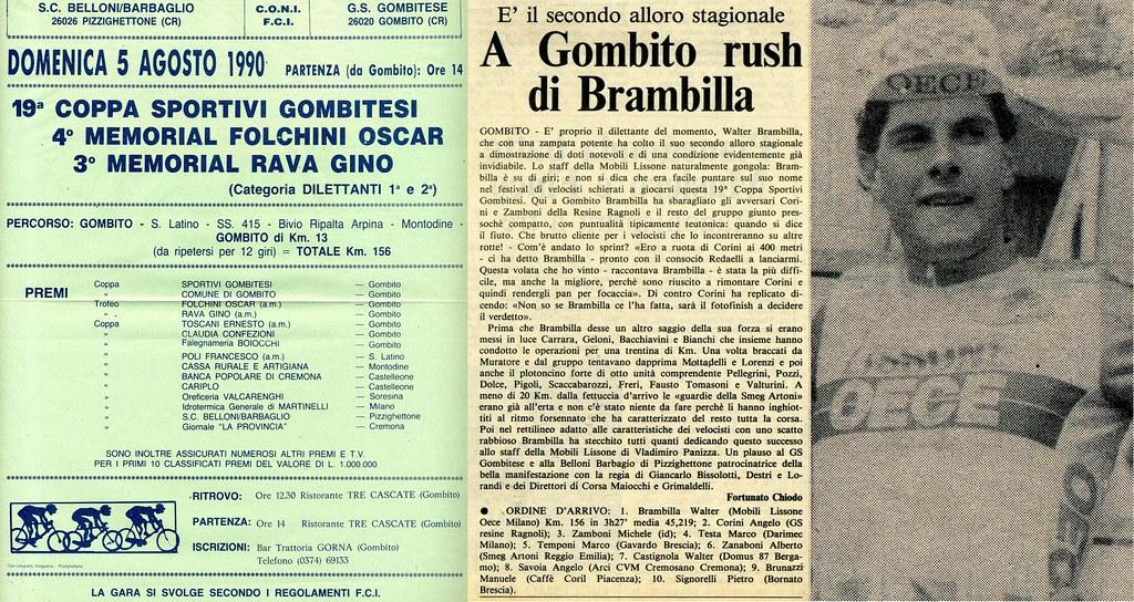 5 agosto 1990 - Gombito (Cr) 1°Walter Brambilla 2°Corini 3° Zamboni