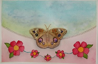 Brushfoot butterfly, watercolor and ink on paper, 6x9 inches.