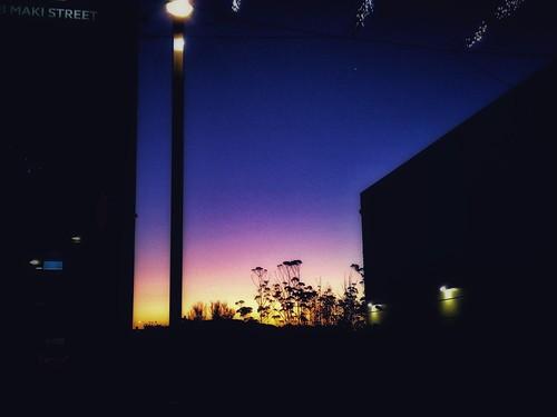 sunset outside northwest mall facing maki street