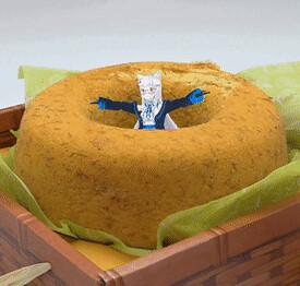 #旗山香蕉蛋糕 看起來超好吃!奧莉絲好像也很開心的樣子0w0