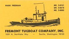 Fremont Tugboat Company business card, circa 1960