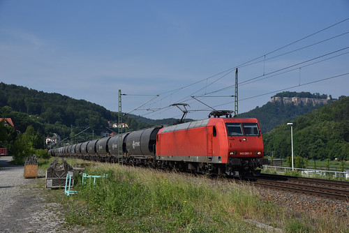 HSL 145 091 met graanwagens, Königstein, 28-05-2018