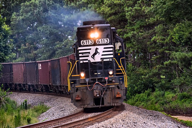 NS 6113 leans in the curve at Chula heading north to work in Ashburn.