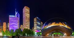 Millenium Park - Cloud Gate and CBD at night, Chicago, Illinois, USA
