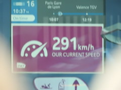 Paris to Barcelona train speed of 291kph between Paris and Valence 26.05.2019