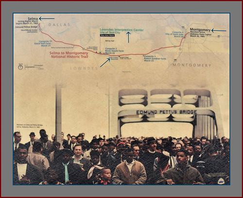 'Marchers on the Edmund Pettus Bridge Selma (AL) March 9, 1965' -- NPS Lowndes County Interpretive Center March 2019