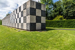 FLAGPOLES AND SCULPTURE AT THE ENTRANCE TO THE UNIVERSITY OF LIMERICK CAMPUS [ THE WALL OF LIGHT IS BY SEAN SCULLY]-153211