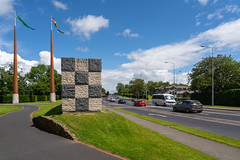 FLAGPOLES AND SCULPTURE AT THE ENTRANCE TO THE UNIVERSITY OF LIMERICK CAMPUS [ THE WALL OF LIGHT IS BY SEAN SCULLY]-153215