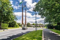 FLAGPOLES AND SCULPTURE AT THE ENTRANCE TO THE UNIVERSITY OF LIMERICK CAMPUS [ THE WALL OF LIGHT IS BY SEAN SCULLY]-153217