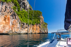 Sailing yacht near Phi Phi islands in our trip from Thailand to Malaysia. Islands, sails, blue water, and full relax        XOKA8392bs2