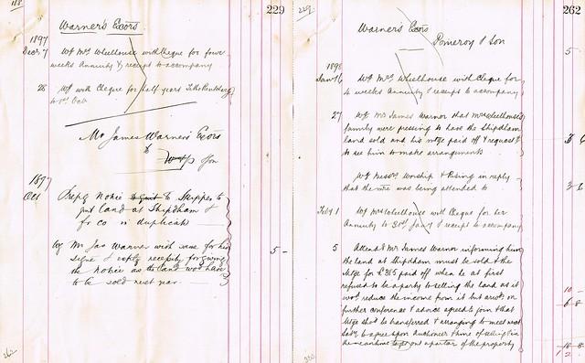 Advice and Fees to Mr. James Warner, Trustee of James Warner Senior re Shipdham, Norfolk Copyhold. 1897-1898 p1-2