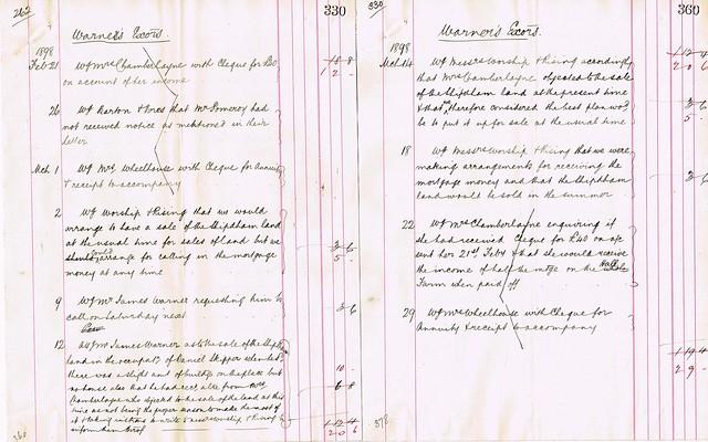 Advice and Fees to Mr. James Warner, Trustee of James Warner Senior re Shipdham, Norfolk Copyhold. 1897-1898 p3-4