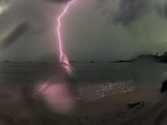 light show at the beach